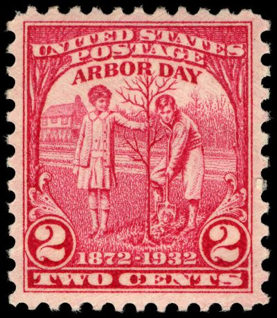 2 cent arbor day stamp red