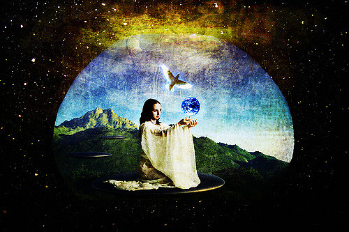 woman in robe holding earth with dove flying overhead